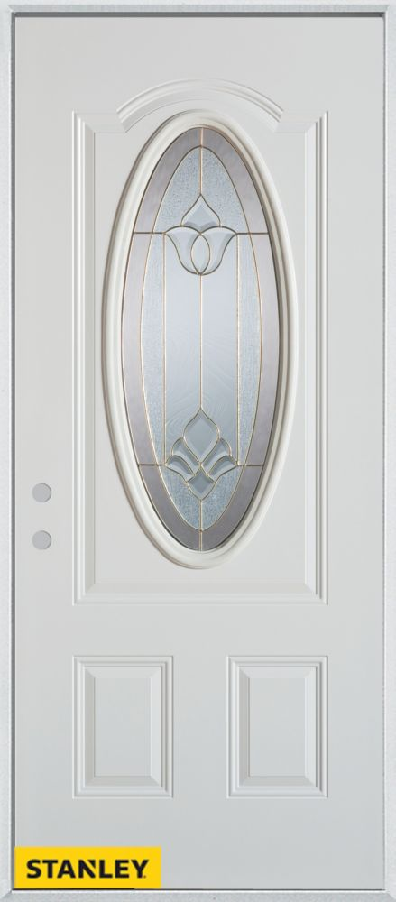 34-inch x 80-inch Traditional Oval Lite 2-Panel White Steel Entry Door with Right Inswing
