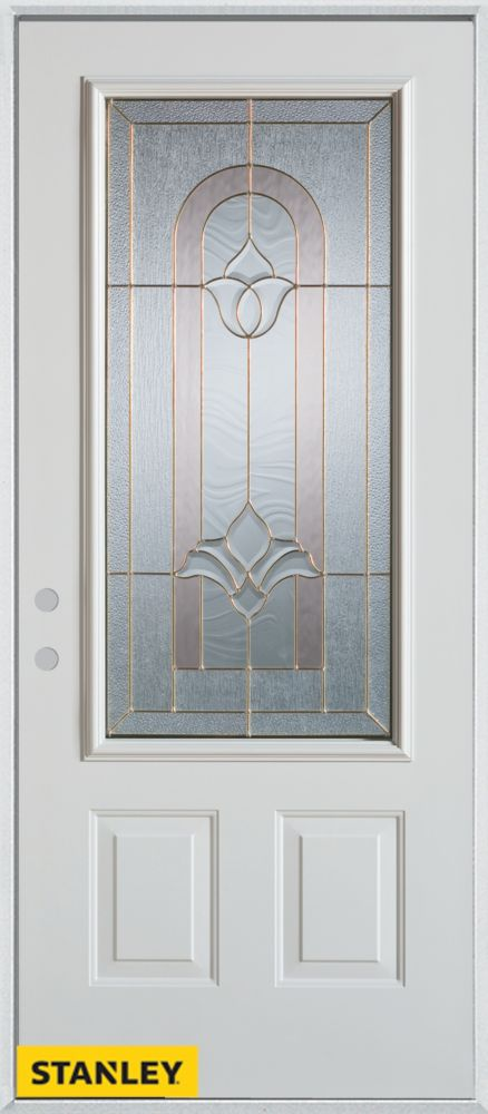 34-inch x 80-inch Traditional 3/4-Lite 2-Panel White Steel Entry Door with Right Inswing