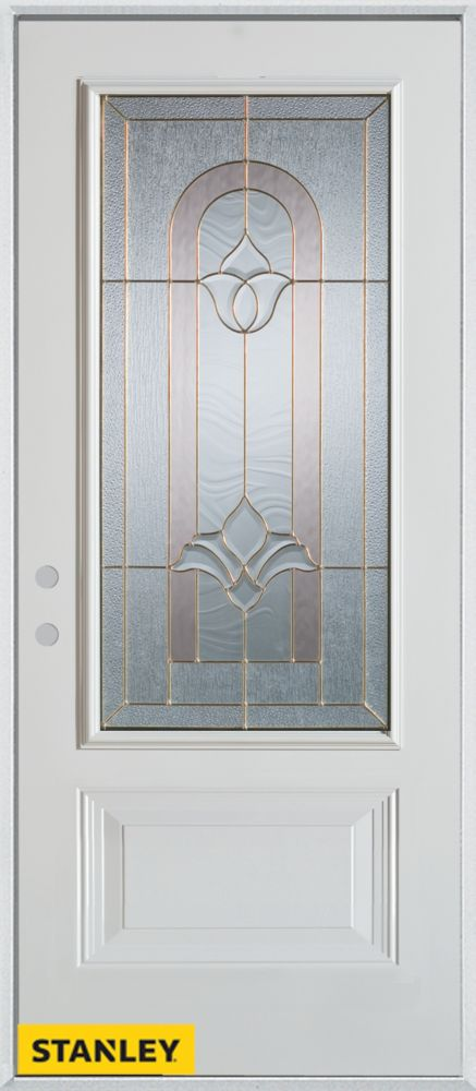 34-inch x 80-inch Traditional 3/4-Lite 1-Panel White Steel Entry Door with Right Inswing