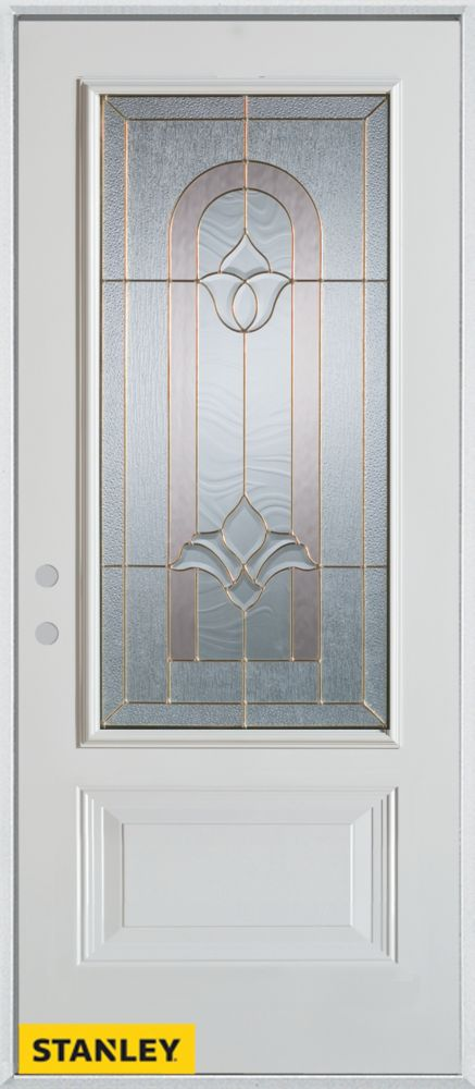 36-inch x 80-inch Traditional 3/4-Lite 1-Panel White Steel Entry Door with Right Inswing