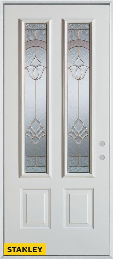 Porte dentrée en acier préfini blanc, munie de deux panneaux et de deux verres, 32 po x 80 po - G...