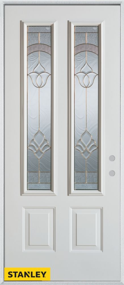 Porte dentrée en acier préfini blanc, munie de deux panneaux et de deux verres, 36 po x 80 po - G...