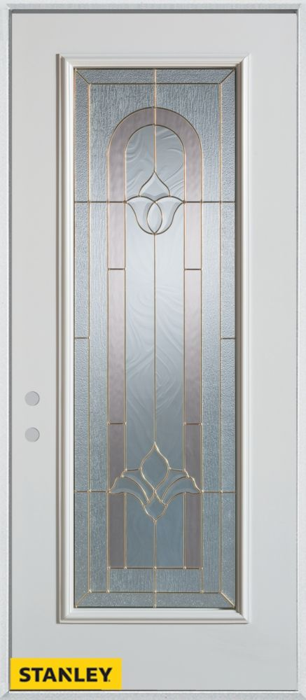 34-inch x 80-inch Traditional Full Lite White Steel Entry Door with Right Inswing