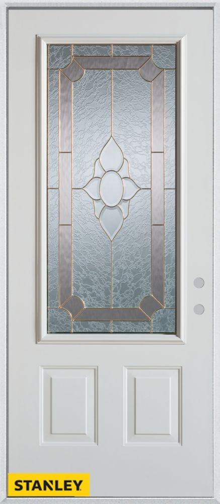 34-inch x 80-inch Traditional 3/4-Lite 2-Panel White Steel Entry Door with Left Inswing