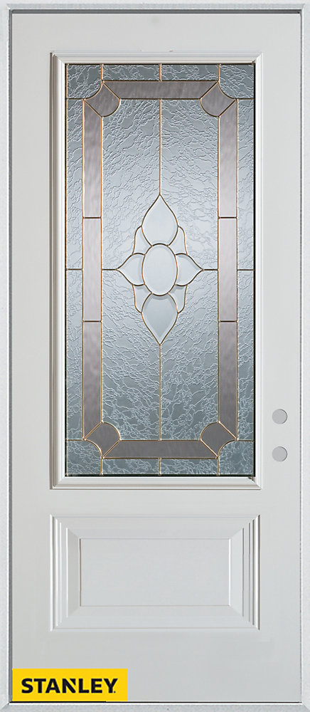 33.375 inch x 82.375 inch Rochelle Brass 3/4 Lite 1-Panel Prefinished White Left-Hand Inswing Steel Prehung Front Door - ENERGY STAR®