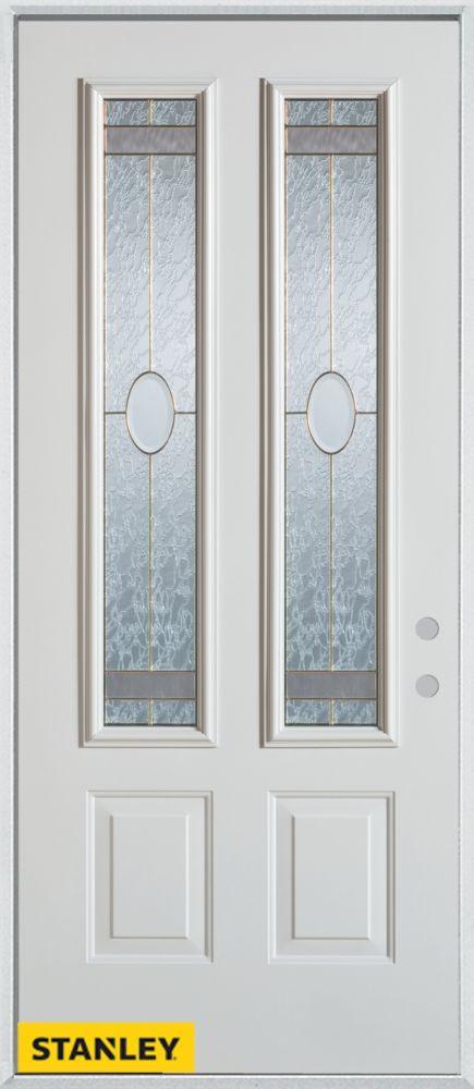 Stanley Doors 35.375 inch x 82.375 inch Rochelle Brass 2-Lite 2-Panel Prefinished White Left-Hand Inswing Steel Prehung Front Door - ENERGY STAR®