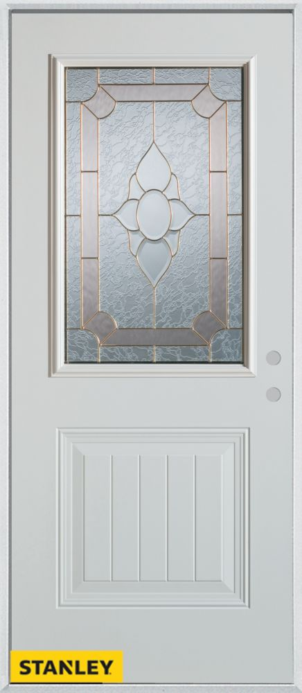 34-inch x 80-inch Traditional 1/2-Lite 1-Panel White Steel Entry Door with Left Inswing