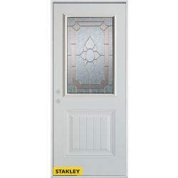 Stanley Doors 35.375 inch x 82.375 inch Rochelle Brass 1/2 Lite 1-Panel Prefinished White Right-Hand Inswing Steel Prehung Front Door - ENERGY STAR®