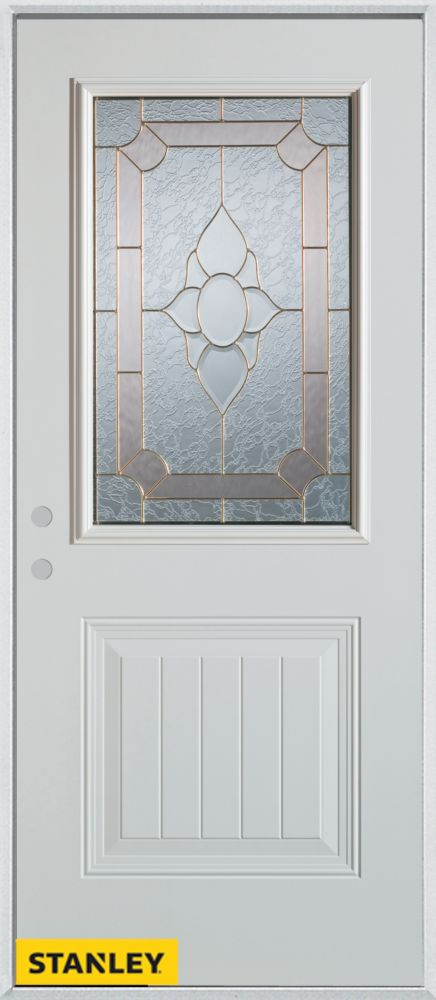 37.375 inch x 82.375 inch Rochelle Brass 1/2 Lite 1-Panel Prefinished White Right-Hand Inswing Steel Prehung Front Door - ENERGY STAR®