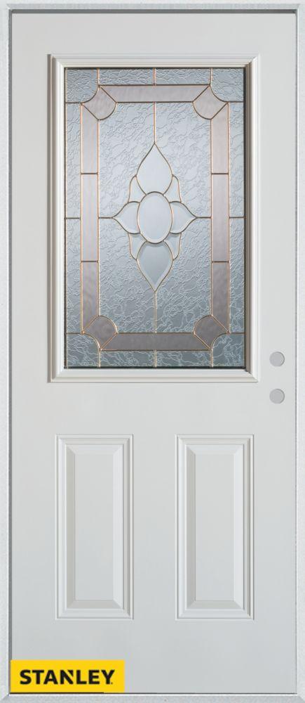 33.375 inch x 82.375 inch Rochelle Brass 1/2 Lite 2-Panel Prefinished White Left-Hand Inswing Steel Prehung Front Door - ENERGY STAR®