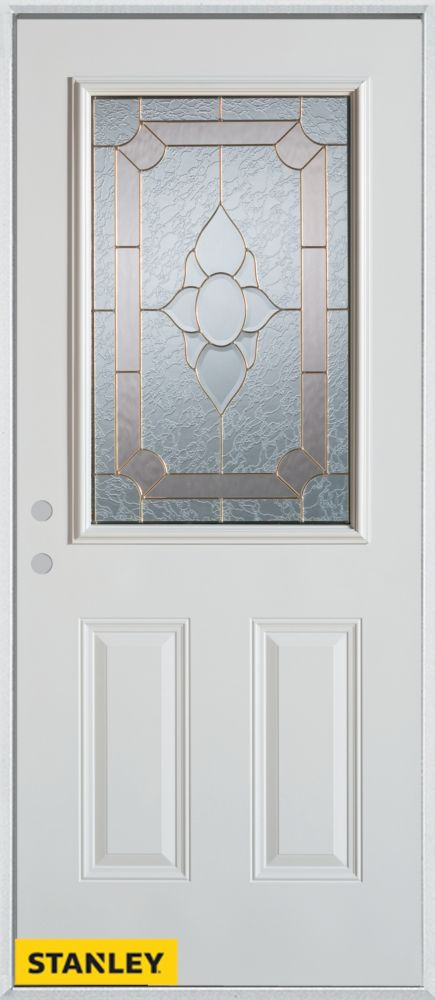 35.375 inch x 82.375 inch Rochelle Brass 1/2 Lite 2-Panel Prefinished White Right-Hand Inswing Steel Prehung Front Door - ENERGY STAR®