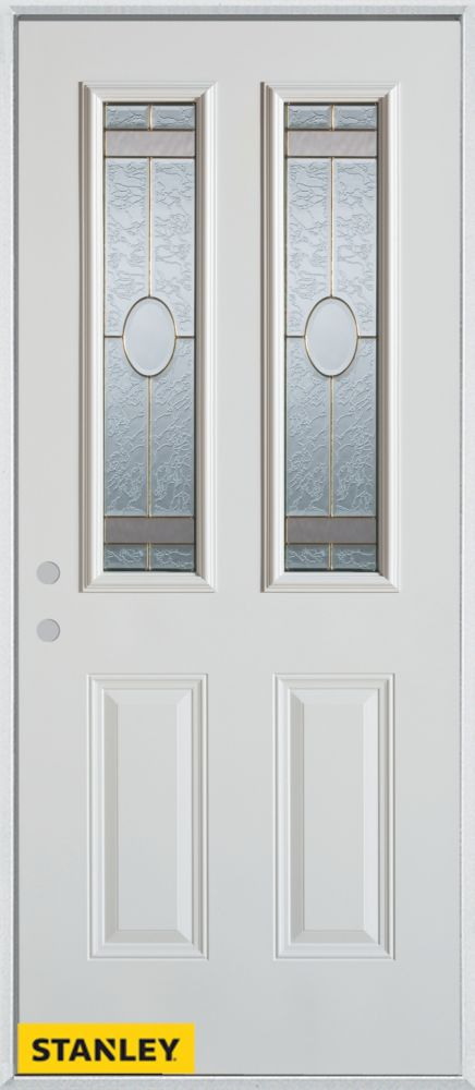 36-inch x 80-inch Traditional 2-Lite 2-Panel White Steel Entry Door with Right Inswing