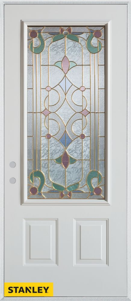 32-inch x 80-inch Art Deco Patina 3/4-Lite 2-Panel White Steel Entry Door with Right Inswing