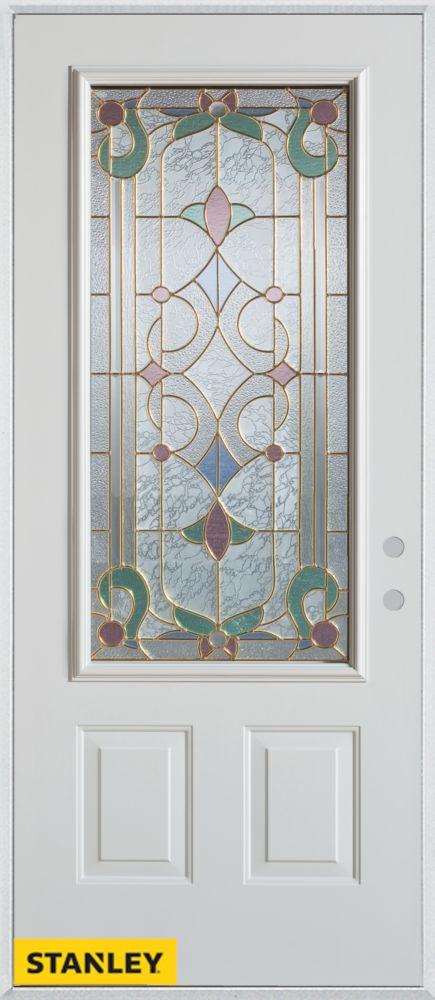 Porte dentrée en acier préfini blanc, munie de deux panneaux et dun 3/4 verre patina, en 36 po x ...