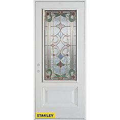 Porte dentrée en acier préfini blanc, munie d'un panneau et dun 3/4 verre patina, 32 po x 80 po - Droite - ENERGY STAR®