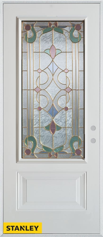 34-inch x 80-inch Art Deco 3/4-Lite 1-Panel White Steel Entry Door with Left Inswing