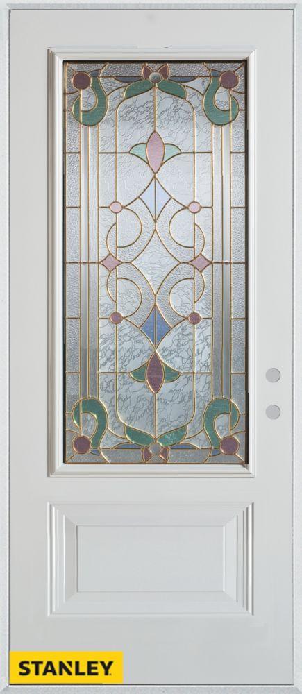 36-inch x 80-inch Art Deco 3/4-Lite 1-Panel White Steel Entry Door with Left Inswing