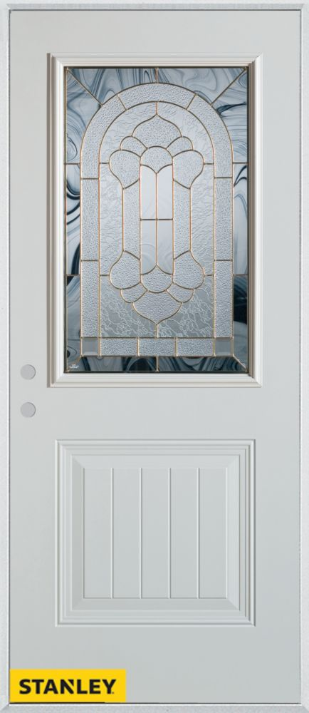 32-inch x 80-inch Traditional 1/2-Lite 1-Panel White Steel Entry Door with Right Inswing