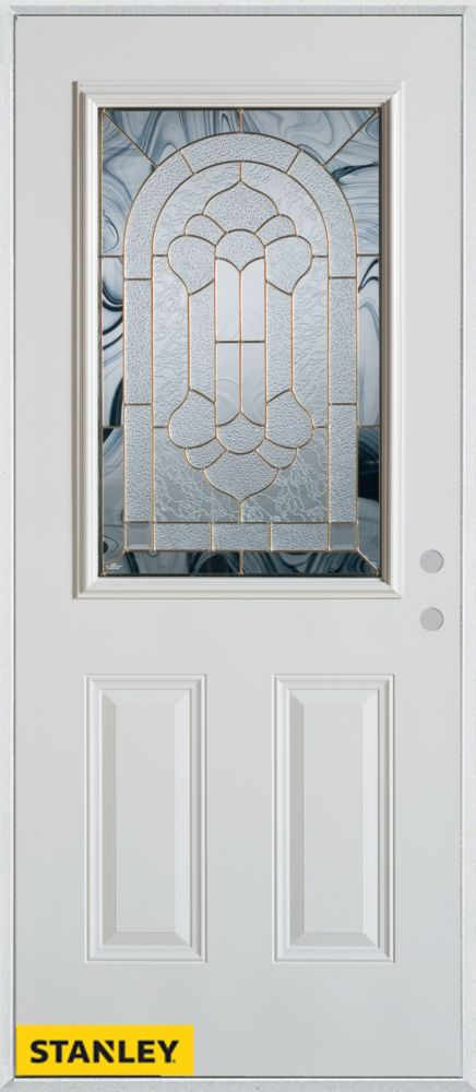 37.375 inch x 82.375 inch Radiance Brass 1/2 Lite 2-Panel Prefinished White Left-Hand Inswing Steel Prehung Front Door - ENERGY STAR®