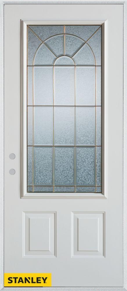 Stanley Doors 35.375 inch x 82.375 inch Elisabeth Zinc 3/4 Lite 2-Panel Prefinished White Right-Hand Inswing Steel Prehung Front Door - ENERGY STAR®