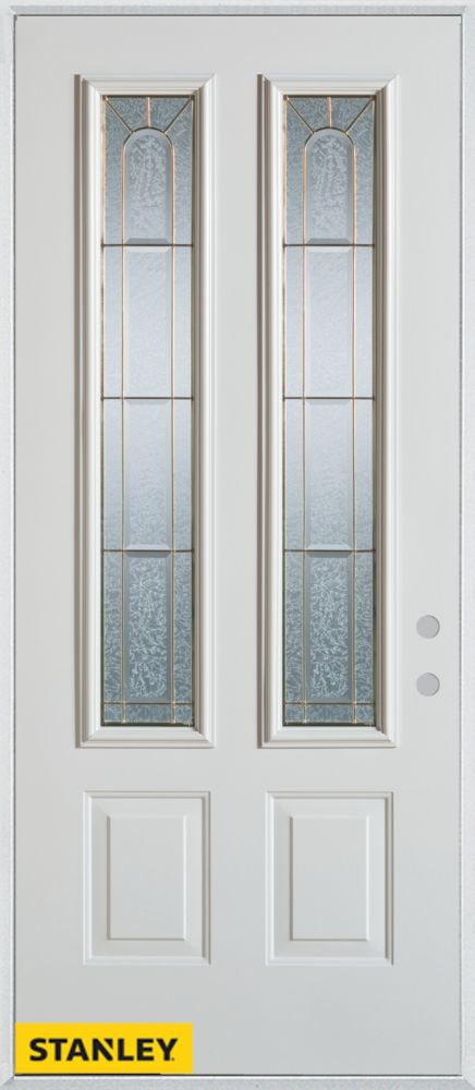 32-inch x 80-inch Geometric 2-Lite 2-Panel White Steel Entry Door with Left Inswing