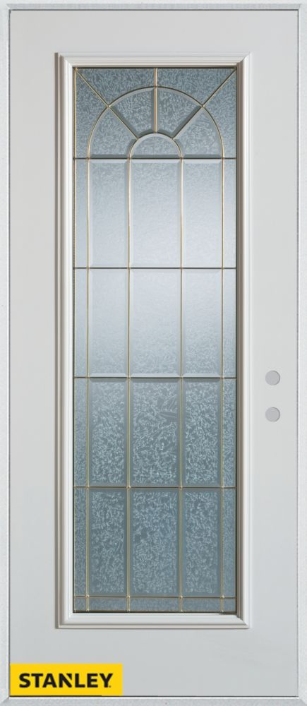 Porte dentrée en acier préfini blanc, munie d'un panneau de verre zinc, 36 po x 80 po - Gauche