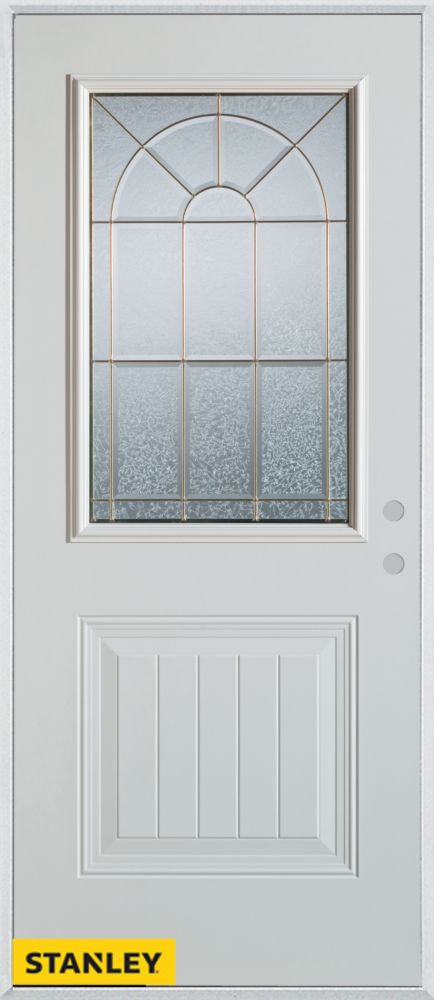 32-inch x 80-inch Geometric Zinc 1/2-Lite 1-Panel White Steel Entry Door with Left Inswing