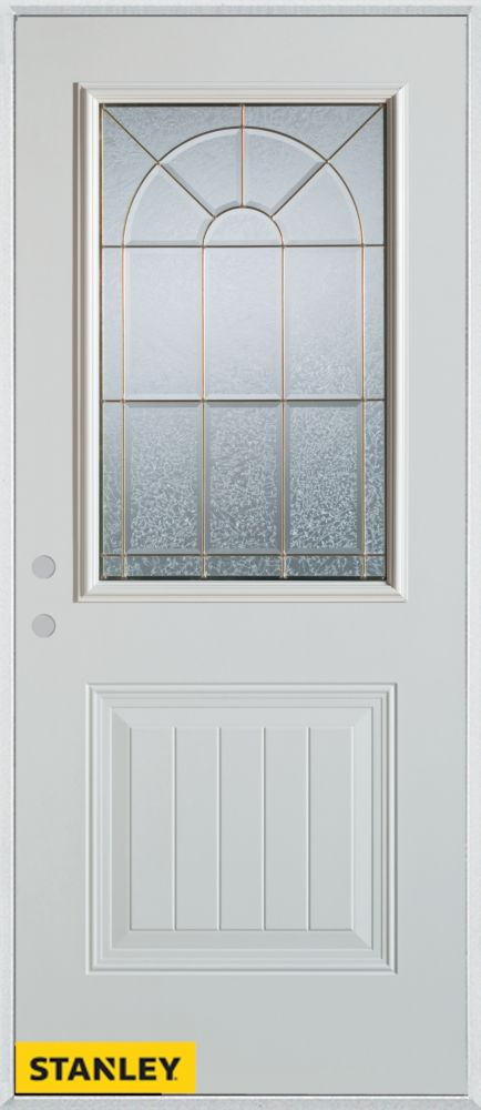 Stanley Doors 32 Inch X 80 Inch Geometric 1 2 Lite 1 Panel White Steel Entry Door With Right
