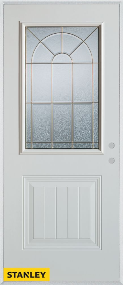 36-inch x 80-inch Geometric Zinc 1/2-Lite 1-Panel White Steel Entry Door with Left Inswing