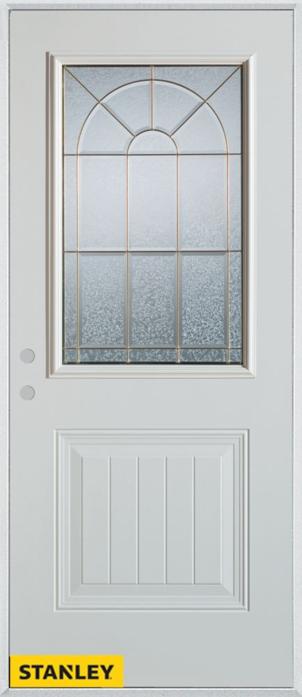 36-inch x 80-inch Geometric 1/2-Lite 1-Panel White Steel Entry Door with Right Inswing