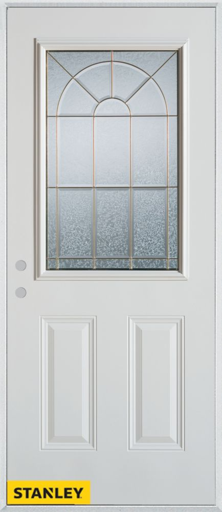 32-inch x 80-inch Geometric 1/2-Lite 2-Panel White Steel Entry Door with Right Inswing