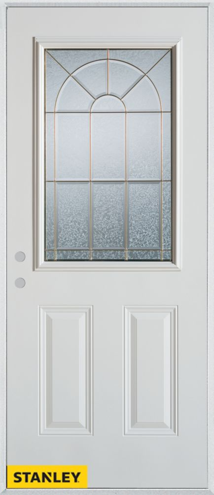 32-inch x 80-inch Geometric Zinc 1/2-Lite 2-Panel White Steel Entry Door with Right Inswing
