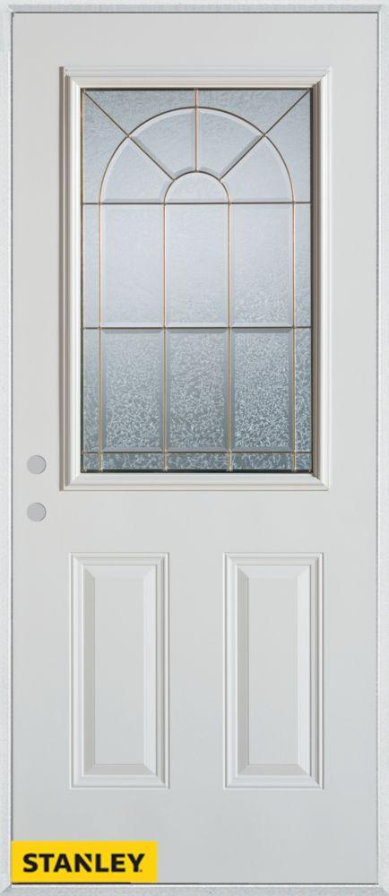 Porte dentrée en acier préfini blanc, munie de deux panneaux et dun 1/2 verre zinc, 36 po x 80 po...