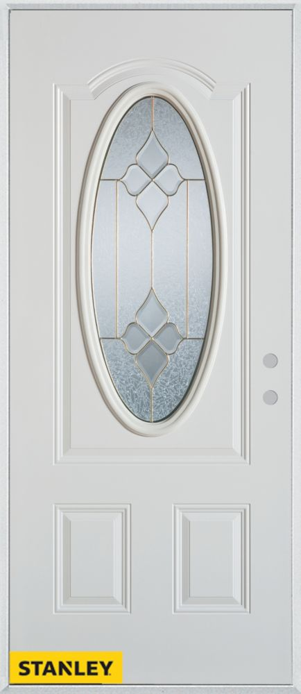 33.375 inch x 82.375 inch Beatrice Brass 3/4 Oval Lite 2-Panel Prefinished White Left-Hand Inswing Steel Prehung Front Door - ENERGY STAR®
