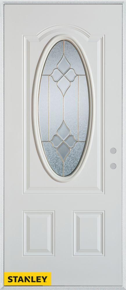 Stanley Doors 33.375 inch x 82.375 inch Beatrice Brass 3/4 Oval Lite 2-Panel Prefinished White Left-Hand Inswing Steel Prehung Front Door - ENERGY STAR®