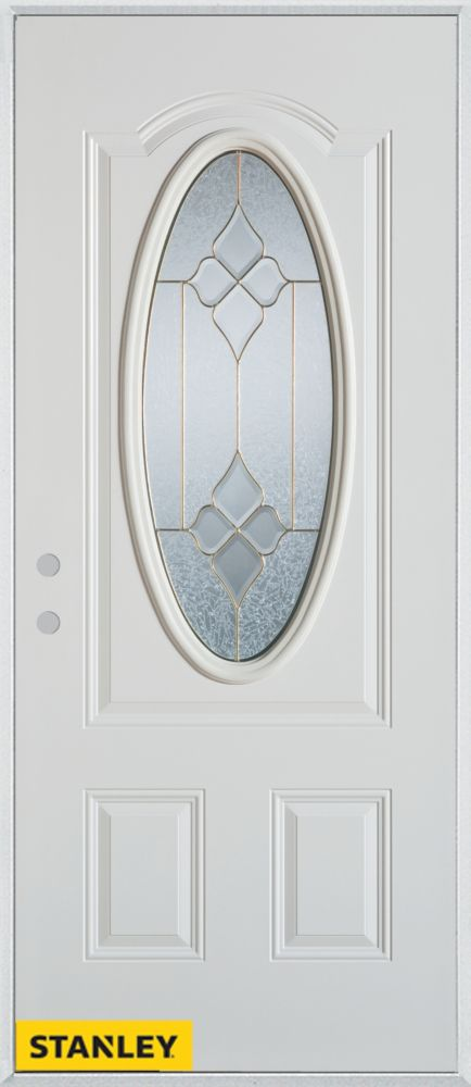 Stanley Doors 35.375 inch x 82.375 inch Beatrice Brass 3/4 Oval Lite 2-Panel Prefinished White Right-Hand Inswing Steel Prehung Front Door - ENERGY STAR®