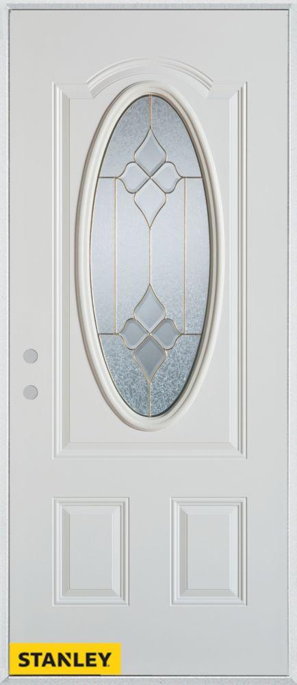 Porte dentrée en acier préfini blanc, munie dun 3/4 verre ovale, 36 po x 80 po - Droite