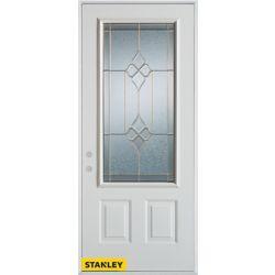 Stanley Doors Porte dentrée en acier préfini blanc, munie de deux panneaux et d'un 3/4 verre zinc, 32 po x 80 po - Droite - ENERGY STAR®