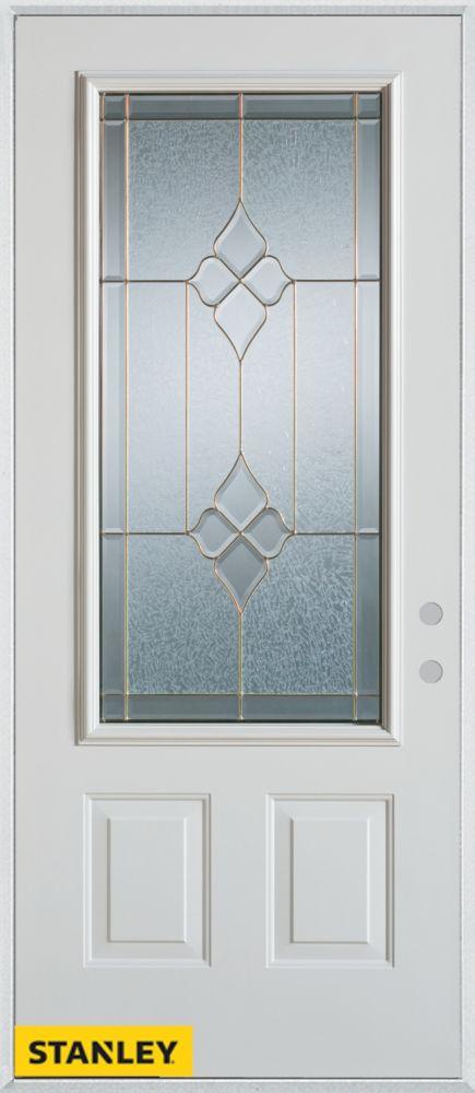 Porte dentrée en acier préfini blanc, munie de deux panneaux et d'un 3/4 verre zinc, 34 po x 80 p...