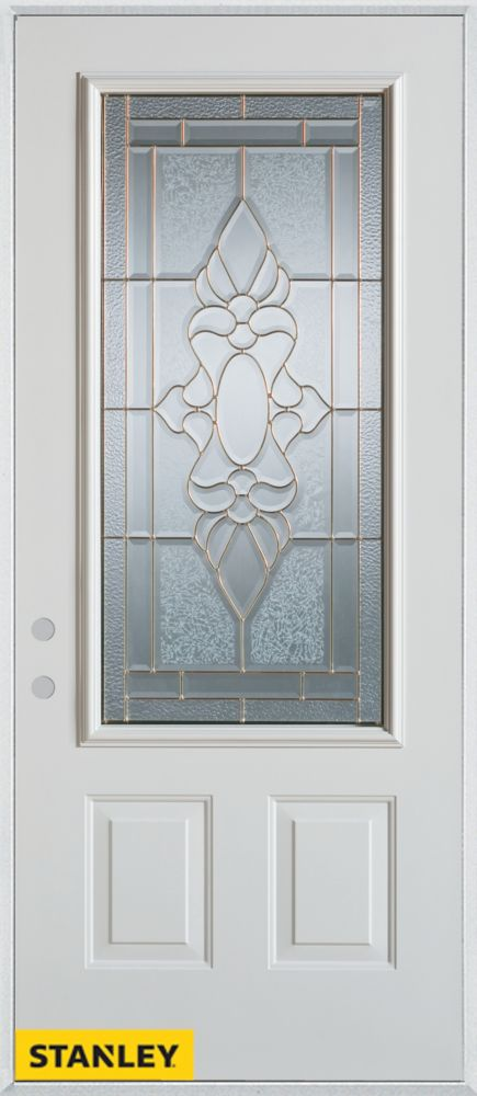 33.375 inch x 82.375 inch Victoria Brass 3/4 Lite 2-Panel Prefinished White Right-Hand Inswing Steel Prehung Front Door - ENERGY STAR®