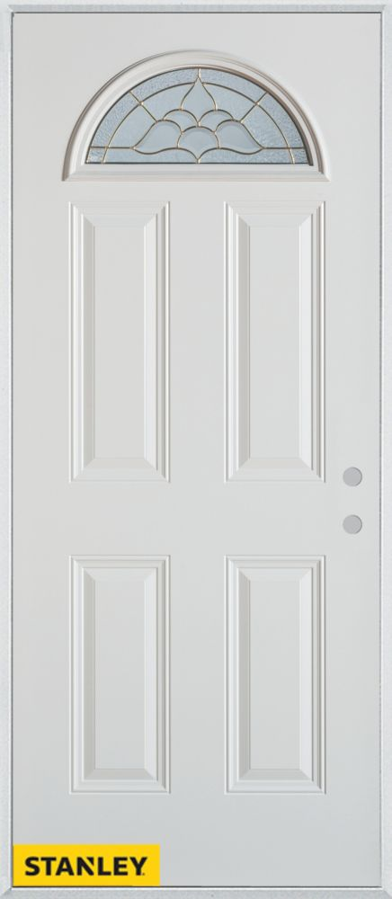 32-inch x 80-inch Traditional Fan Lite 4-Panel White Steel Entry Door with Left Inswing