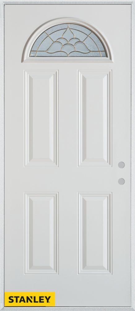 Porte dentrée en acier préfini blanc, munie de 4 panneaux et d'un verre en évantail, 34 po x 80 p...