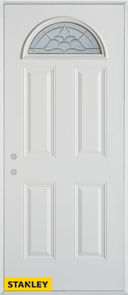 34-inch x 80-inch Traditional Fan Lite 4-Panel White Steel Entry Door with Right Inswing