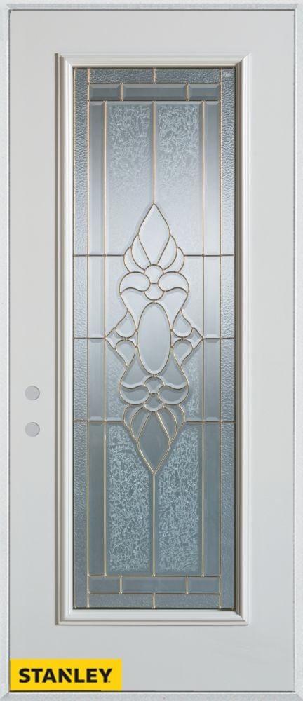 32-inch x 80-inch Traditional Full Lite White Steel Entry Door with Right Inswing