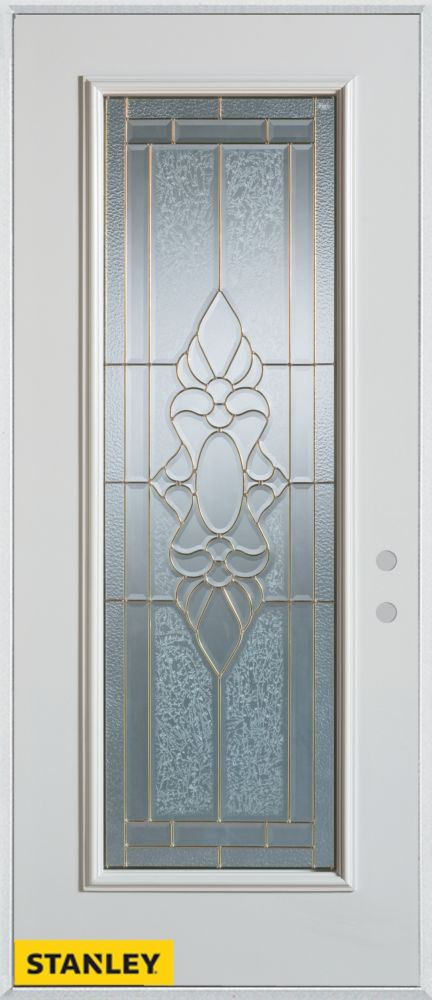 34-inch x 80-inch Traditional Full Lite White Steel Entry Door with Left Inswing