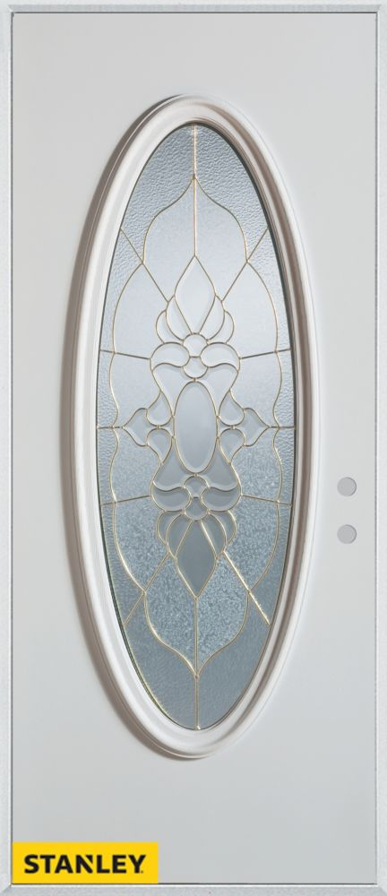 32-inch x 80-inch Traditional Oval Lite White Steel Entry Door with Left Inswing