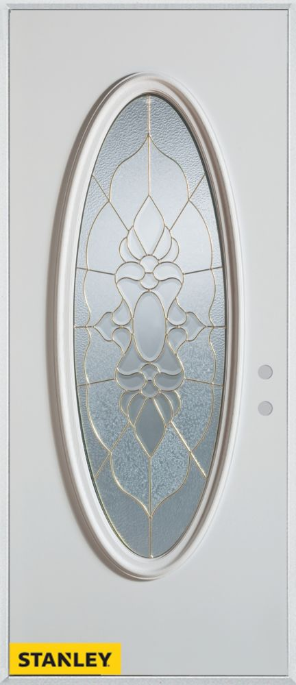 32-inch x 80-inch Traditional Patina Oval Lite White Steel Entry Door with Left Inswing