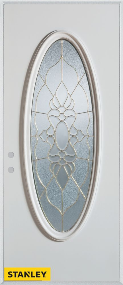 34-inch x 80-inch Traditional Patina Oval Lite White Steel Entry Door with Right Inswing