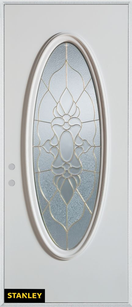 36-inch x 80-inch Traditional Patina Oval Lite White Steel Entry Door with Right Inswing