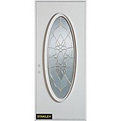 Stanley Doors Porte dentrée en acier préfini blanc, munie dun verre zinc ovale, 36 po x 80 po - Droite - ENERGY STAR®